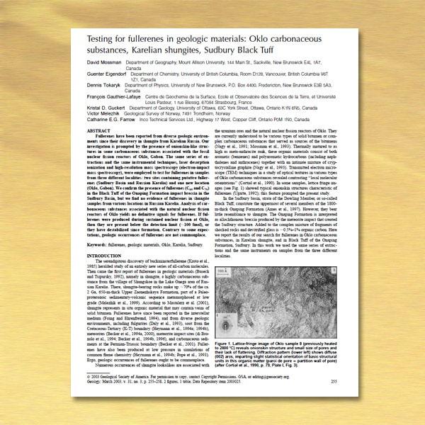 2003 Testing of fullerenes in shungite - Mossman